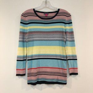 🍁Vince Camuto Colorful Striped Scoop Neck Tee L